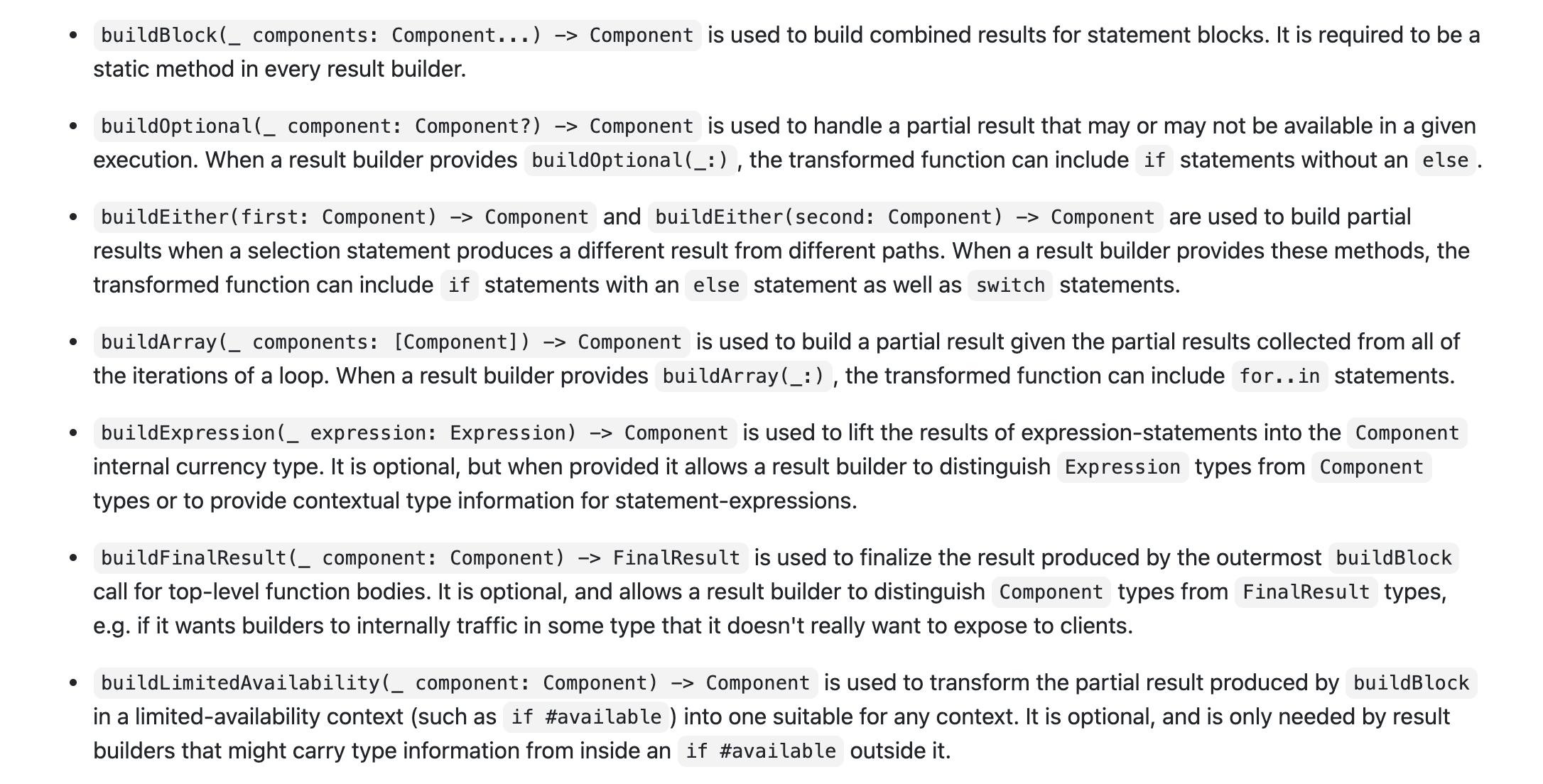Swift result builder 支持不少的炫酷语法